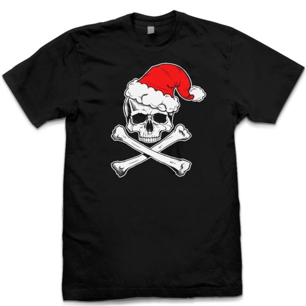 pins bones funny christmas shirts skull and crossbone santa shirt black graphic - Funny Christmas T Shirts