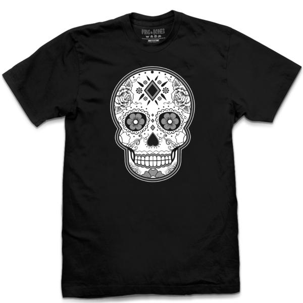 bd67a320f ... Day Of The Dead Clothing. 🔍. Pins & Bones Sugar Skull T Shirt, Dia De  Los Muertos Apparel, Black &