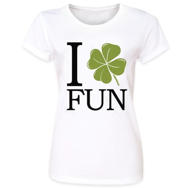 b9e1ff4a0 Pins & Bones Women's St Patricks Day Official I Heart Fun St Patty's  Shamrock White T